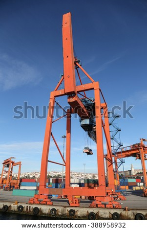 Blue Port Crane in a sea port