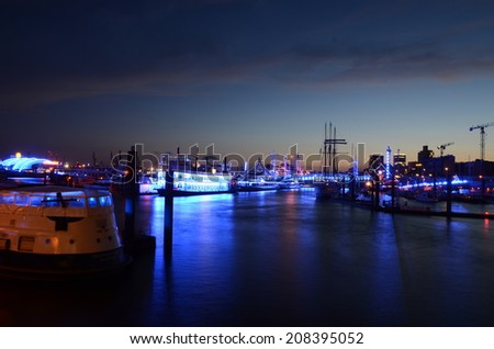 Blue-Port-Hamburg 2014 View over the river Elbe into the city of Hamburg. a must for each tourist and visit of hamburg, the beautieful town in germany, elbe, alster, background wallpaper - stock photo