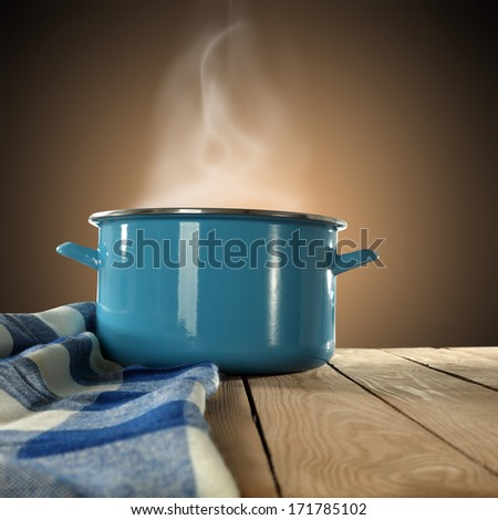 blue pot and napkin  - stock photo