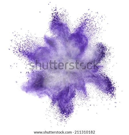 Blue powder explosion isolated on white background - stock photo