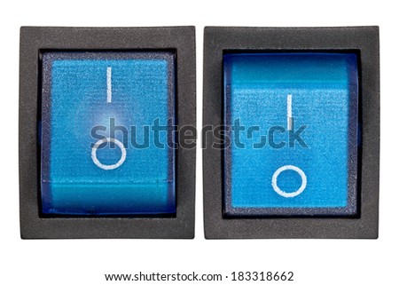 Blue power switch on/off, isolated on white background, with clipping path