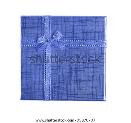 blue present box. Top view - stock photo
