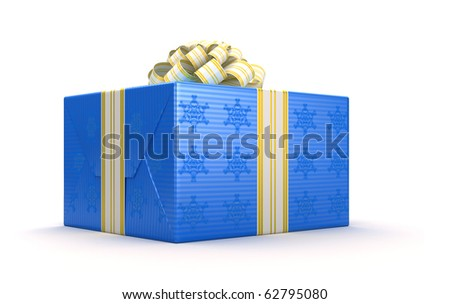 Blue present or gift box with bow isolated on white - stock photo