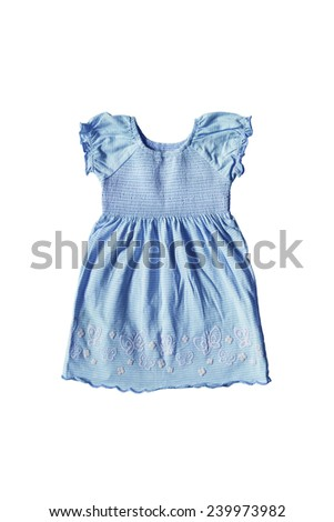 Blue pretty baby dress isolated over white - stock photo