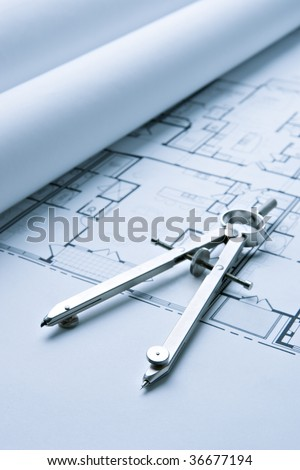 Blue Print Floor Plans with Drawing Compass - stock photo