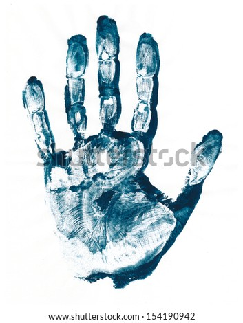 Blue Print of hand, raster grunge illustration  - stock photo