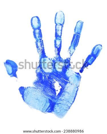 Blue print of human palm isolated on white background - stock photo