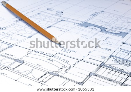 blue prints and pencil