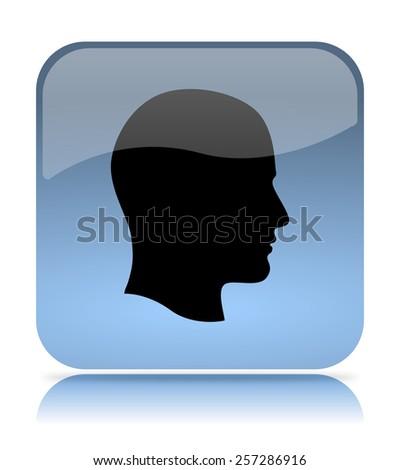 Blue Profile App Icon Illustration on White Background - stock photo
