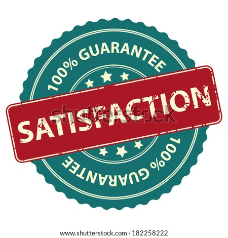 Blue Promotional or Marketing Material, Sticker, Rubber Stamp, Icon or Label for Satisfaction 100 Percent Guarantee Isolated on White Background  - stock photo