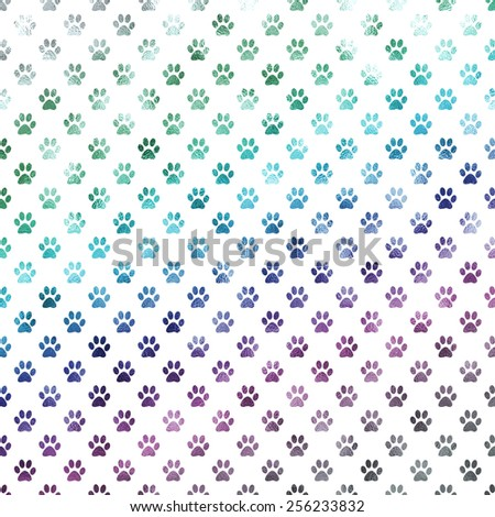 Blue Purple Silver and Green Rainbow Dog Paws Metallic Foil Polka Dot Texture Background Pattern  - stock photo