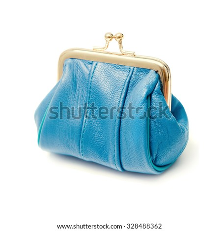 blue purse on a white background - stock photo