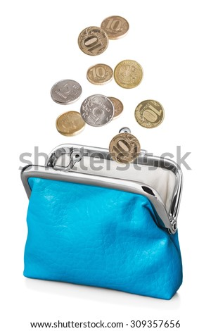 blue purse with falling coins. Isolated on white background - stock photo