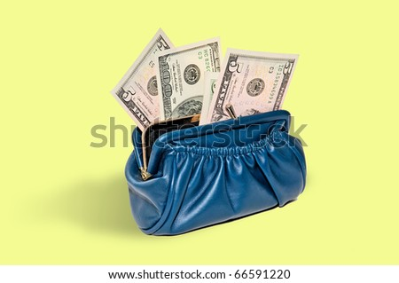 blue purse with money in dollars as a fan - stock photo