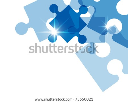 Blue puzzle background - stock photo