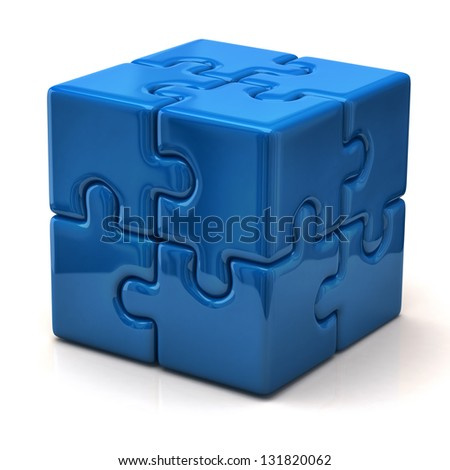 Blue puzzle cube - stock photo