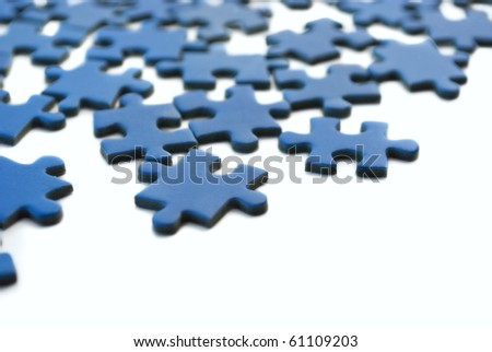 blue puzzle isolated - stock photo
