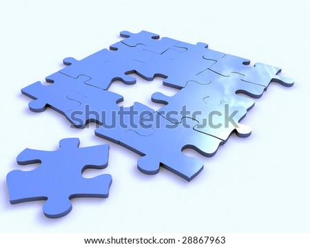 blue puzzle isolated on white - stock photo