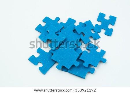 blue puzzle pieces - stock photo