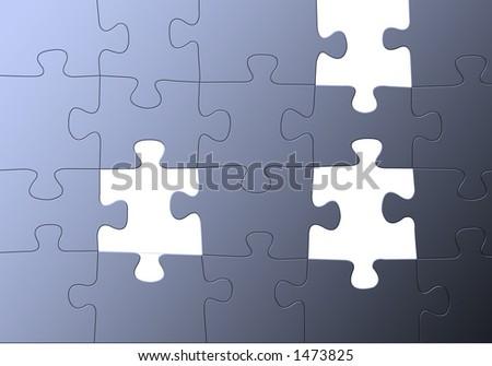 blue puzzle w/missing parts, easy to use as background or image on it as transparency. - stock photo