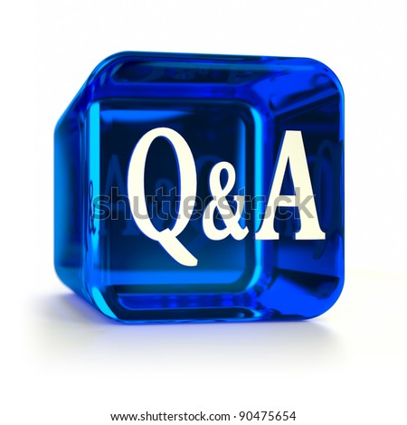 Blue Q&A computer icon. Part of an icon set. - stock photo