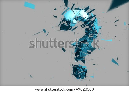 blue question mark explosion - stock photo