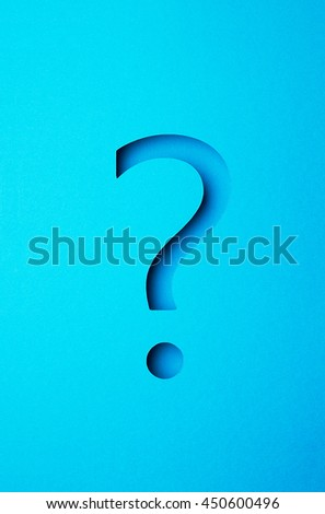 Blue question mark made of paper
