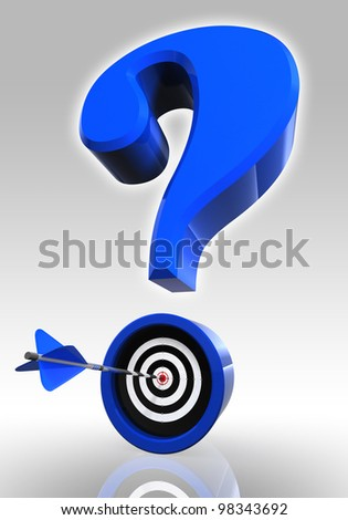 blue questionmark and target with arrow on white background. clipping path included