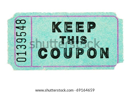 blue raffle coupon ticket with number isolated on white - stock photo