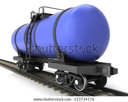 Blue railroad tank wagon on a white background. - stock photo
