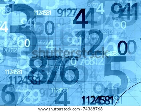 blue random numbers background illustration - stock photo