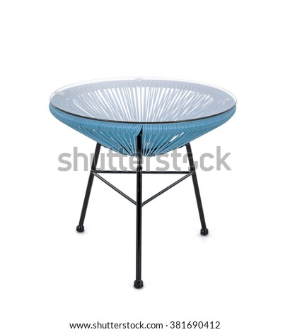 Blue Rattan Coffee Table on White Background