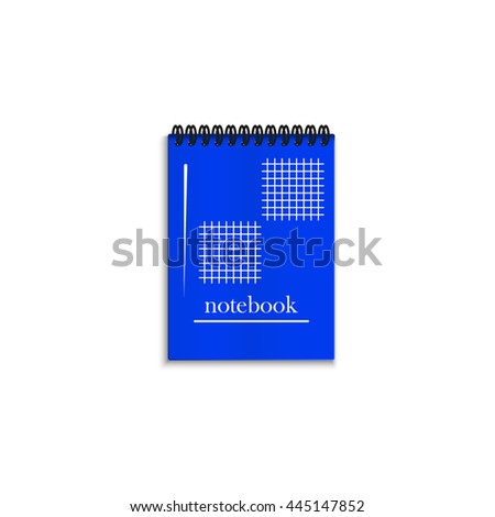Blue realistic spiral notebook isolated on white background. - stock photo