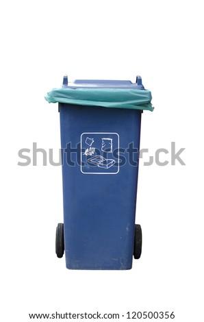 Blue Recycle Bin. - stock photo