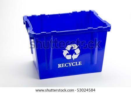 Blue recycle bin empty - stock photo