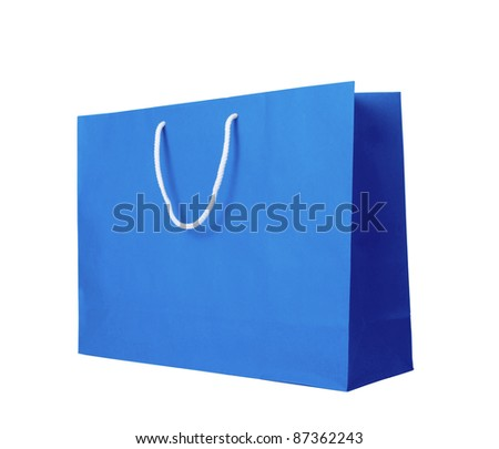 Blue recycle paper shopping bag on  white background