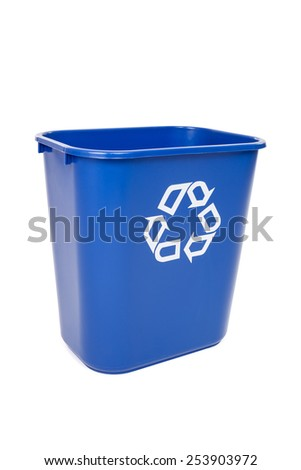 Blue recycling trash can isolated on white - stock photo