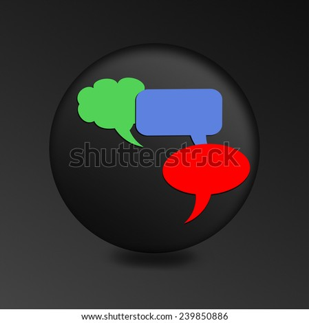 blue, red and green chat bubble icon on black icon. - stock photo