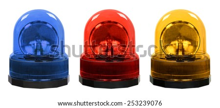 Blue red yellow emergency lights