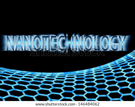 blue reflective  nanotechnology text in ray lights and blue graphene structure on black background - stock photo