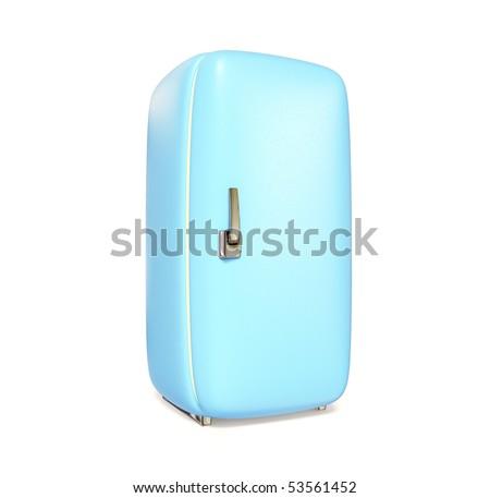 blue retro fridge on white background isolated - stock photo
