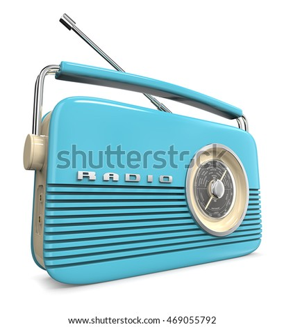 Blue Retro Radio. 3D render of a Classic Blue Retro Style Radio.