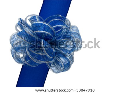 Blue ribbon and bow making a present isolated on a white background with clipping path, blue present - stock photo