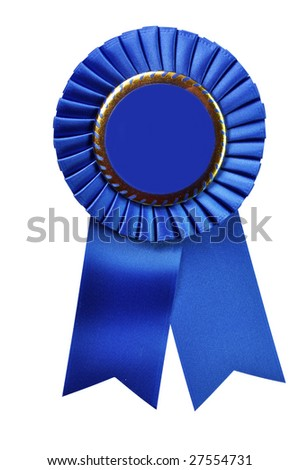 Blue ribbon award blank with copy space.  Isolated on white background with clipping path. - stock photo