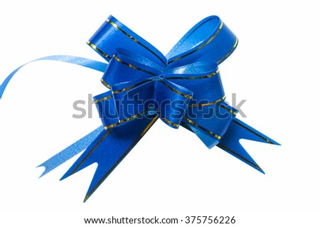 Blue ribbon beautiful on white background(clipping path) - stock photo