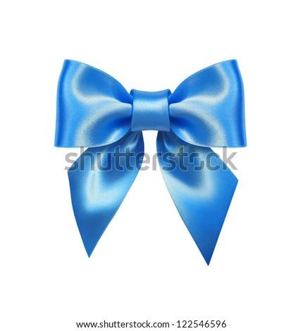 Blue ribbon bow isolated on white background - stock photo