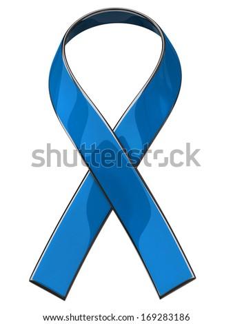 Blue ribbon isolated on white background - stock photo