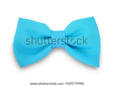 Blue ribbon knot isolated on white background. This has clipping path.                                 - stock photo