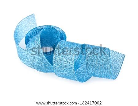blue ribbon on a white background - stock photo