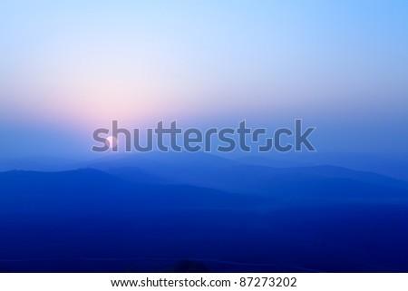 blue ridge hills at sunrise - stock photo